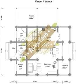 """Полутораэтажный деревянный дом с террассой и балконом """"Алтай"""": Дома в . Автор – Марисруб"""