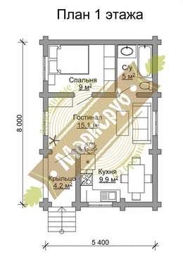 """Компактный одноэтажный коттедж из бревна """"Отдых"""": Дома в . Автор – Марисруб"""