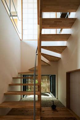 階段と坪庭: 藤森大作建築設計事務所が手掛けた玄関・廊下・階段です。