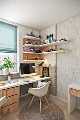 Estudios y oficinas de estilo escandinavo por Дарья Баранович Дизайн Интерьера