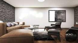 Sofa: styl , w kategorii Pokój multimedialny zaprojektowany przez MONOstudio