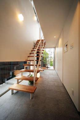 haus-kuro: 一級建築士事務所hausが手掛けた玄関・廊下・階段です。