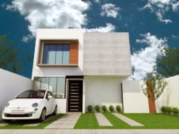 FACHADA PRINCIPAL: Casas de estilo minimalista por DLR ARQUITECTURA/ DLR DISEÑO EN MADERA