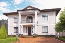 Визуализация ландшафта с архитектурой частного дома: Дома в . Автор – Москоу Дизайн