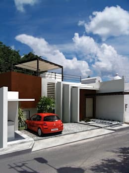 RENDER PRELIMINAR A LA OBRA SIN BARDA EXTERIOR: Casas de estilo moderno por FRACTAL CORP Arquitectura