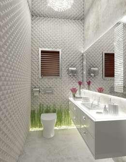 White Powder Room: classic Bathroom by AAMRAPALI BHOGLE