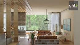 Interiorismo Casa Cañadas: Salas de estilo moderno por GHT EcoArquitectos