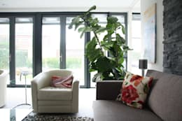 Villa in Vleuten: moderne Woonkamer door Architectenbureau Jules Zwijsen