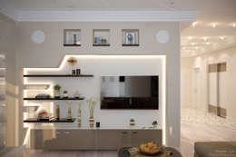 Дизайн кухни-гостиной в стиле постмодерн в квартире по ул. Морская, г.Краснодар: Гостиная в . Автор – Студия интерьерного дизайна happy.design