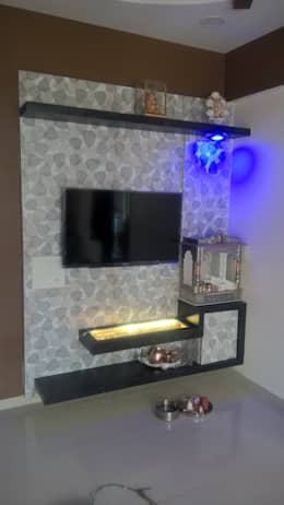 1 BHK RESIDENTIAL PROJECT @2016: modern Living room by SHARADA INTERIORS