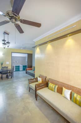 2 BHK in country Style Interiors : country Living room by In Built Concepts