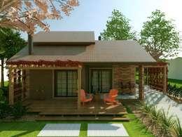 Projeto Residencial em estilo rústico/campestre a ser construída na cidade de Três Coroas/RS, na Serra Gaúcha/Vale do Paranhana: Casas rústicas por Cíntia Schirmer | Estúdio de Arquitetura e Urbanismo