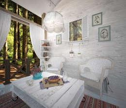 بلكونة أو شرفة تنفيذ Дизайн-бюро Анны Шаркуновой 'East-West'