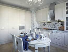 Квартира с современном классическом стиле, 93 кв.м.: Кухни в . Автор – Студия дизайна интерьера Маши Марченко