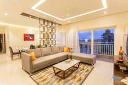3 BHK apartment - RMZ Galleria, Bengaluru: modern Living room by KRIYA LIVING