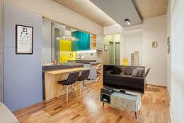 SALA DE TV E JANTAR: Salas de jantar modernas por Simples Arquitetura-Natália Botelho e Paola Corteletti