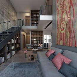 Sala y escaleras:  de estilo  por Aflo Arquitectos