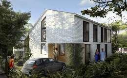 ACCESO VIVIENDA: Casas de estilo tropical por SUPERFICIES Estudio de arquitectura y construccion