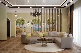 غرفة المعيشة تنفيذ Студия интерьерного дизайна happy.design