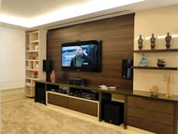 Salas multimedia de estilo moderno por Priscila Boldrini Design e Arquitetura