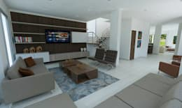 Sala de TV: Salas multimedia de estilo moderno por Alejo Gallego /Diseño de espacios y visualización 3D