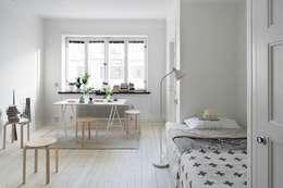 女子ルーム: Incs Design Studioが手掛けた寝室です。