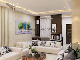 Interior Project for 3BHK Flat: modern Living room by Inventivearchitects
