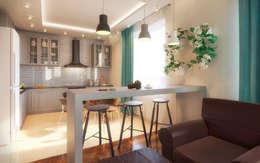 Гостиная-кухня: Кухни в . Автор – Anastasia Yakovleva design studio