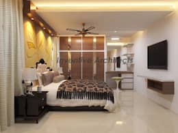 Interior Project for 3BHK Flat: asian Bedroom by Inventivearchitects