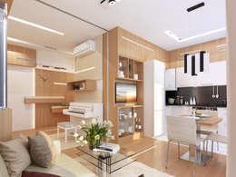 Однокомнатная квартира-трансформер: Столовые комнаты в . Автор – Архитектурное бюро Лены Гординой