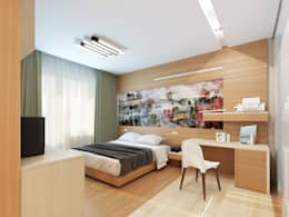 Однокомнатная квартира-трансформер: Спальни в . Автор – Архитектурное бюро Лены Гординой