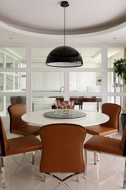 白色的極緻優雅:  餐廳 by 誼軒室內裝修設計有限公司