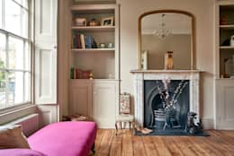 Two beige bespoke alcove units: classic Living room by Purdom's Bespoke Furniture