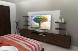 17 fantastische Ideen, um einen Fernseher im Schlafzimmer unterzubringen