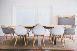 Moradia GJ: Salas de jantar modernas por Fragmentos Mínimos