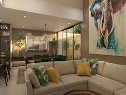 Villas T: Salas / recibidores de estilo topical por Taller Interno