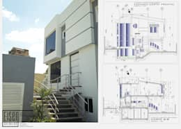 Fachada Frontal. Detalle de la escalera frontal exterior: Casas de estilo escandinavo por Eisen Arquitecto