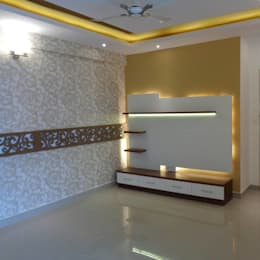 Living Room TV Unit & False Ceiling: asian Living room by Scale Inch Pvt. Ltd.