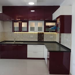 Modular L-shaped kitchen: asian Kitchen by Scale Inch Pvt. Ltd.