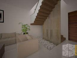 ESCALERA CON MURO DE CANTERA: Pasillos y recibidores de estilo  por HHRG ARQUITECTOS