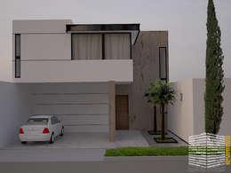 FACHADA CONTEMPORANEA: Casas de estilo moderno por HHRG ARQUITECTOS