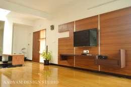 Living Space: minimalistic Living room by Aadyam Design Studio