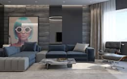 minimalistic Living room by Interior designers Pavel and Svetlana Alekseeva