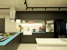 Cocinas de estilo industrial por Daniela Simões Arquitetura e Interiores