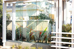 Timber Pergola & Glass Fins:  Artwork by Inline Spaces Pty Ltd