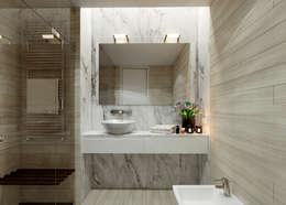 Moradia unifamiliar - Tipologia T4: Casas de banho minimalistas por EsboçoSigma, Lda