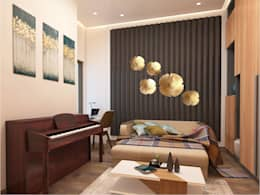 ENTERTAINMENT ROOM - VIEW 2: minimalistic Media room by MAD DESIGN