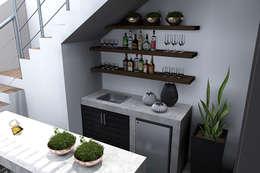 CONTRA BARRA EN TERRAZA : Cavas de estilo moderno por Residenza by Diego Bibbiani