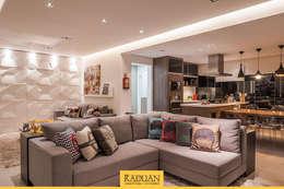 Sala de Estar + Terraço Gourmet: Salas de estar modernas por Raduan Arquitetura e Interiores