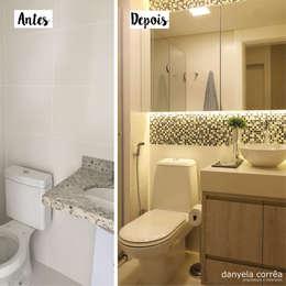 Antes e Depois - Banho com Pastilhas: Banheiros modernos por Danyela Corrêa Arquitetura